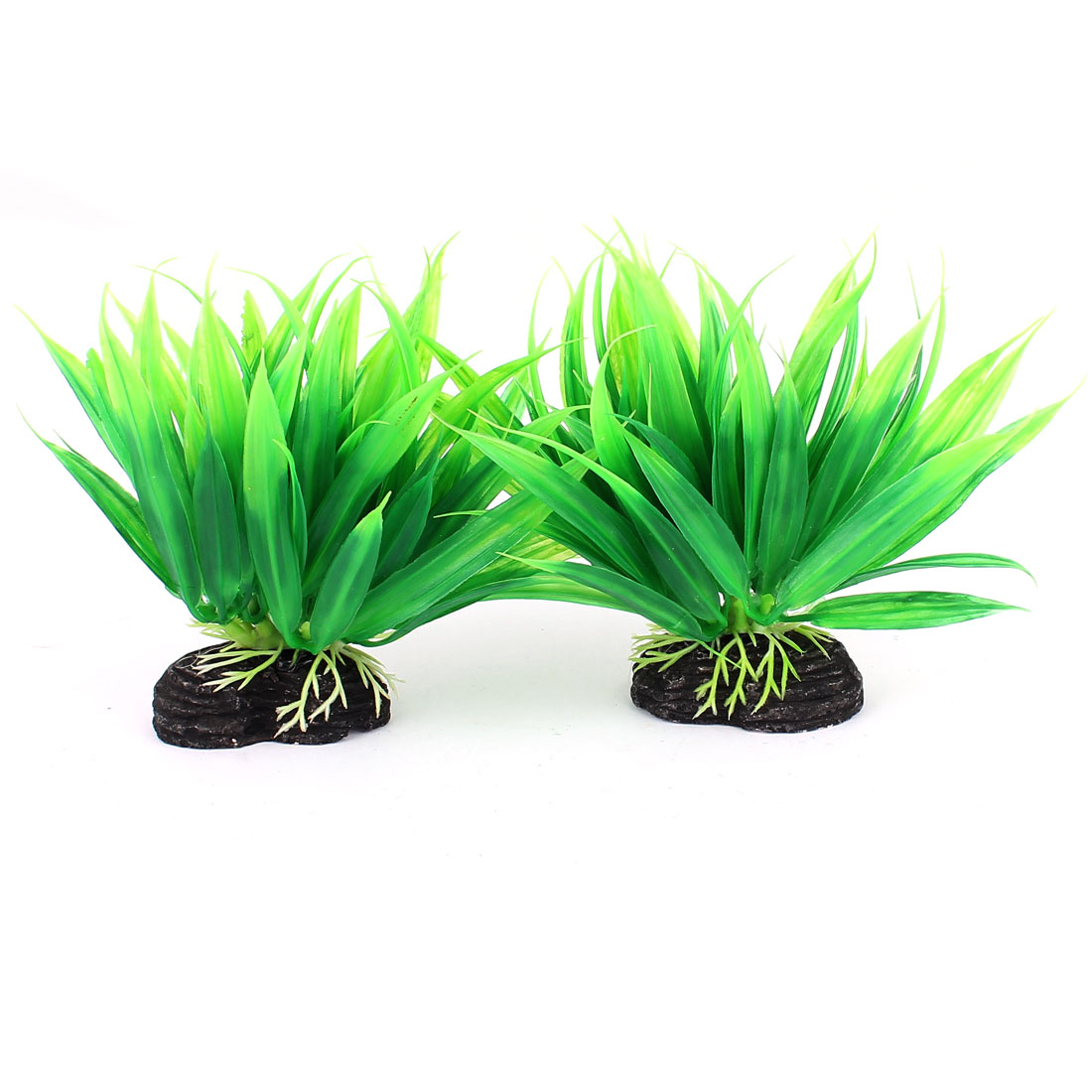 2pcs Green Plastic Manmade Aquarium Aquatic Plant Ornament for Fishbowl Fish Tank