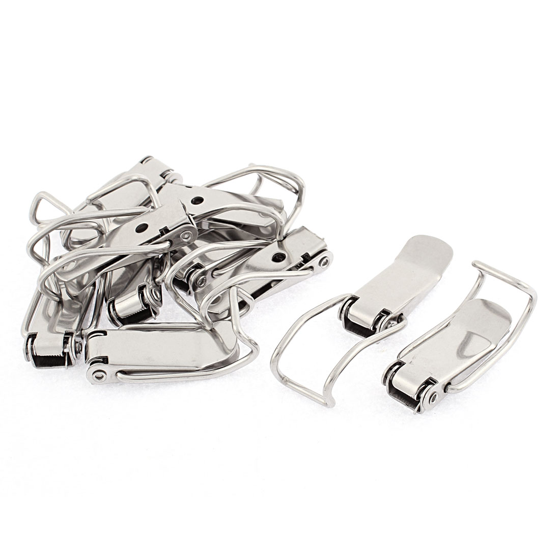 Cabinet Chests Silver Tone Spring Loaded Toggle Latch Hasp Hardware 10pcs