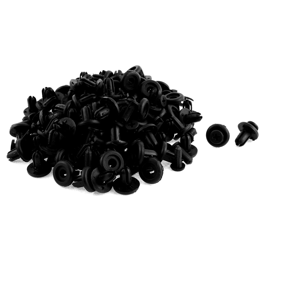 Auto Car 9mm Hole Black Plastic Rivet Fastener Bumper Fender Clips 100pcs