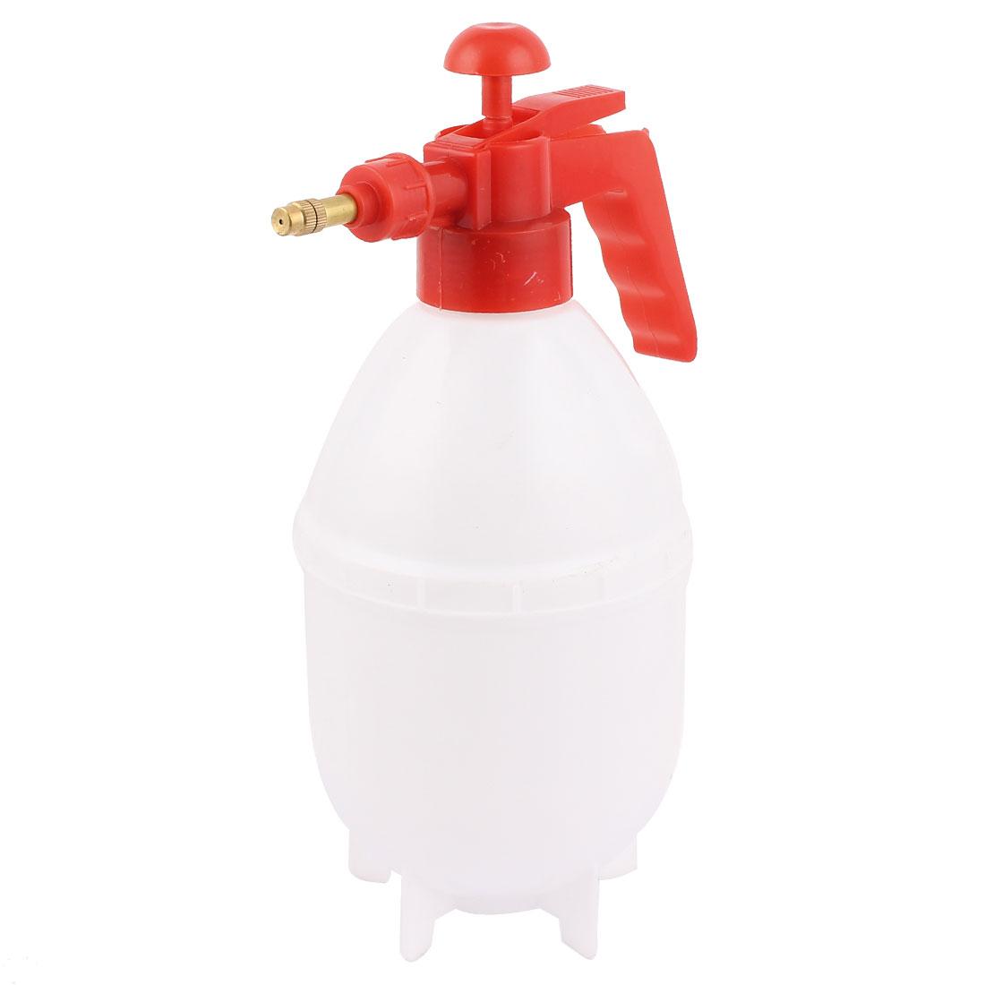 Red Handle White Body Plastic Plant Flower Watering Water Pressure Sprayer Spray Bottle 1500Ml