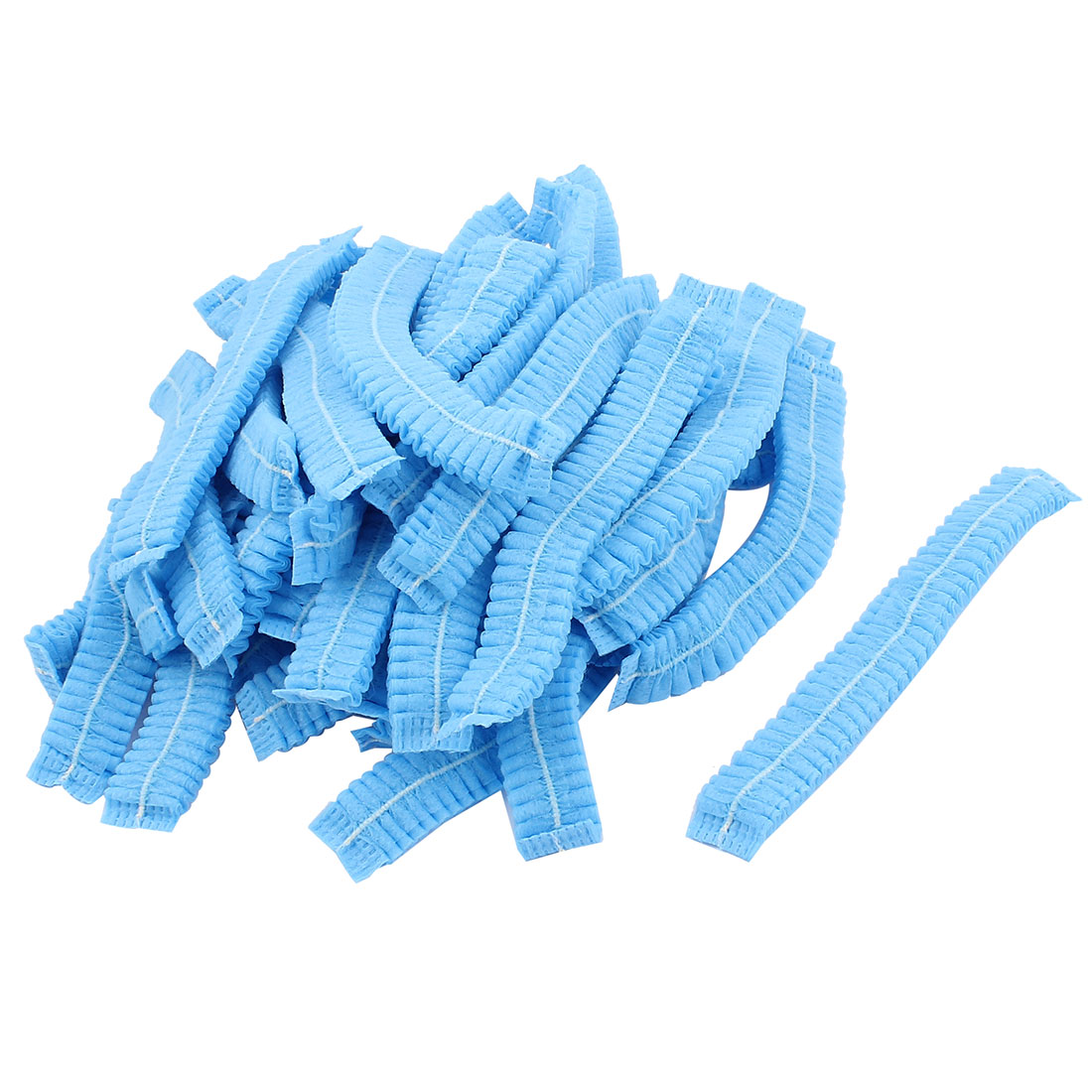 90pcs Blue Non-woven Elastic Band Disposable Bouffant Pleated Anti Dust Hats