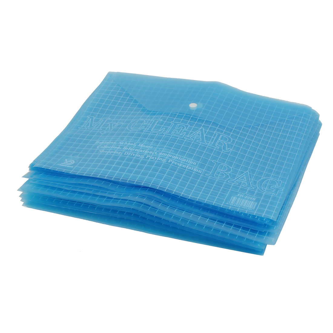 20pcs Clear Blue Plastic Check Pattern Press Stud Button Closure A4 Paper File Document Holder Organizer
