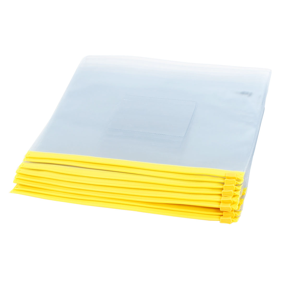 Office School Plastic Zipper Closure Bag File A5 Paper Storage Document Organizer Folder Yellow 12pcs