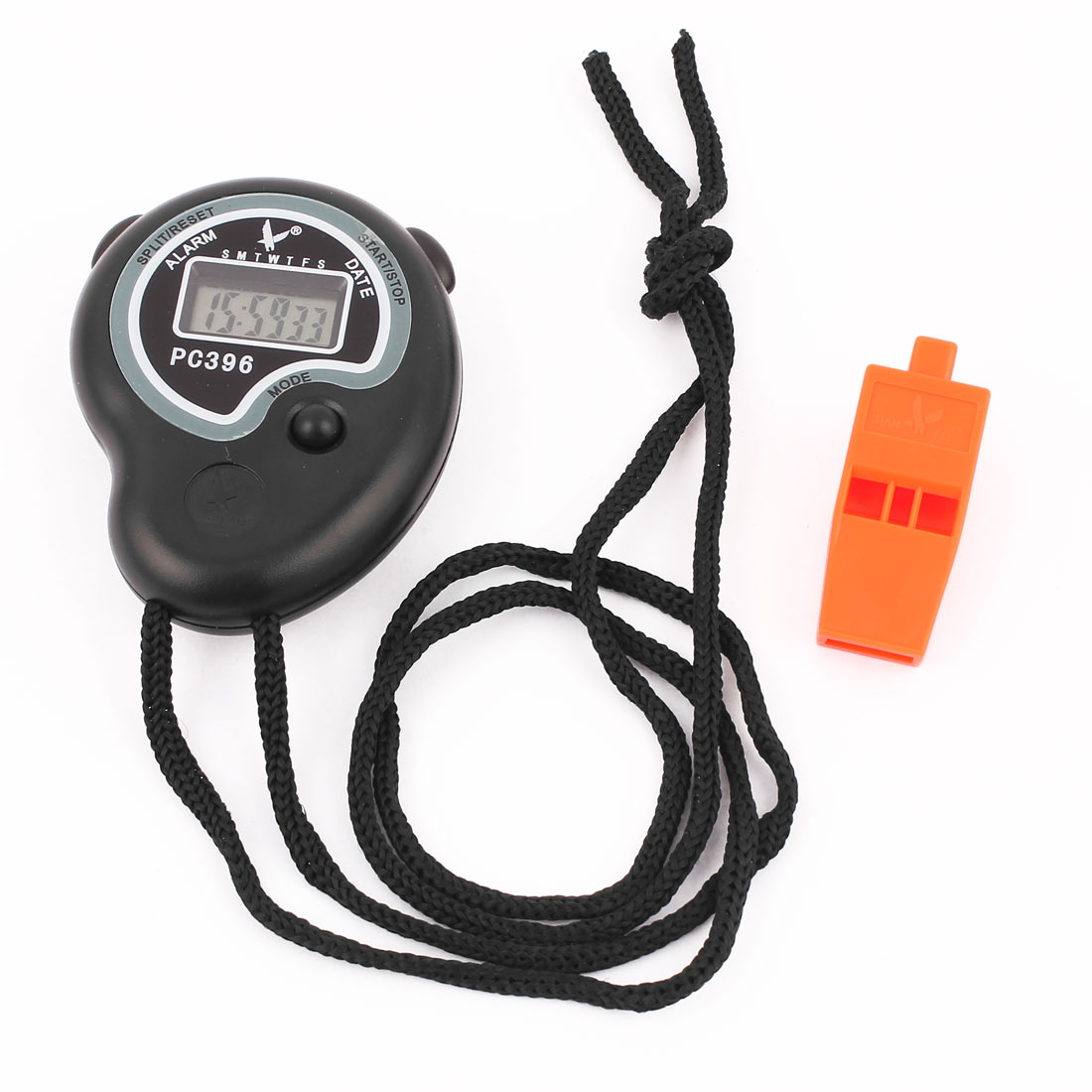 Sports Exercies Training LCD Digital Chronograph Timer Stop Watch Stopwatch Whistle Set 2 in 1