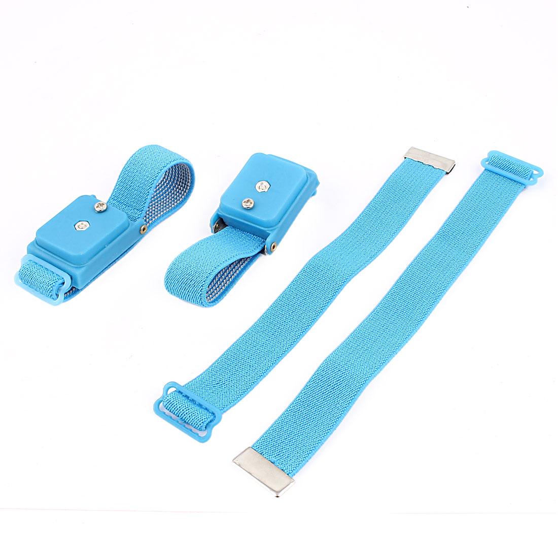 2 Pcs Cordless Stretchy Wristband Anti Static Wireless Wrist Strap Skyblue