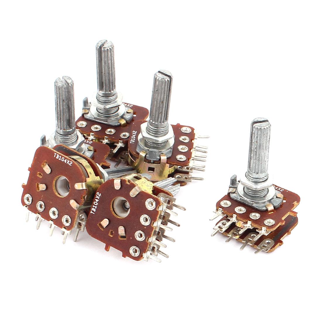 6 Pcs TB104*2 100/K/M ohm Linear/Logarithmic Mono/Stereo Pot/Potentiometer