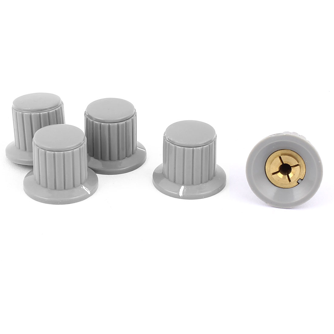 5 Pcs Volume Control Rotary Knobs For 5mm Dia Knurled Shaft Potentiometer Durable Gray