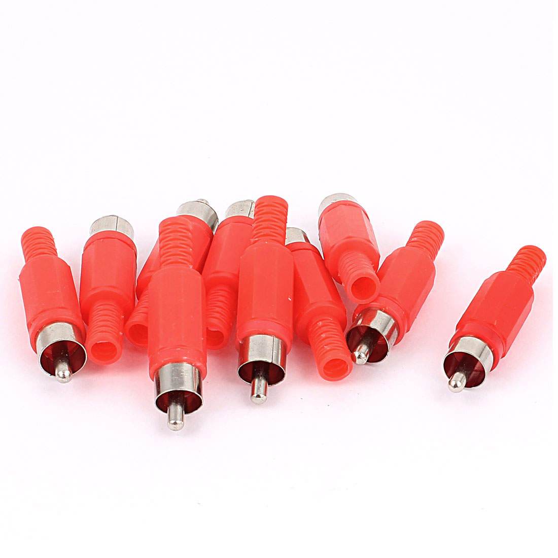 10 Pcs RCA Male Connector Audio Adapter Video Plated Solder Red