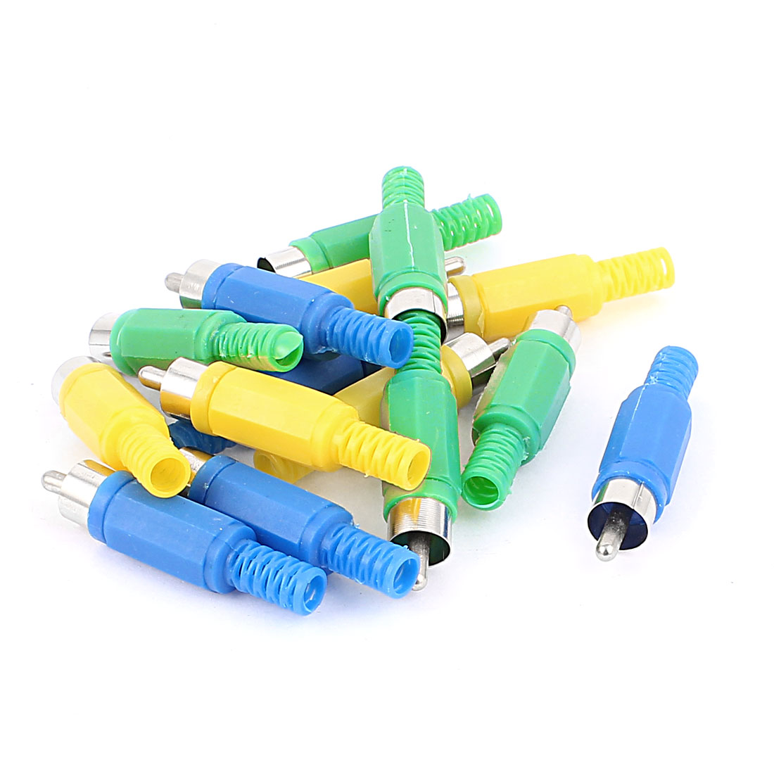 15 Pcs RCA Male Connector Audio Adapter Video Plated Solder Yellow Blue Green