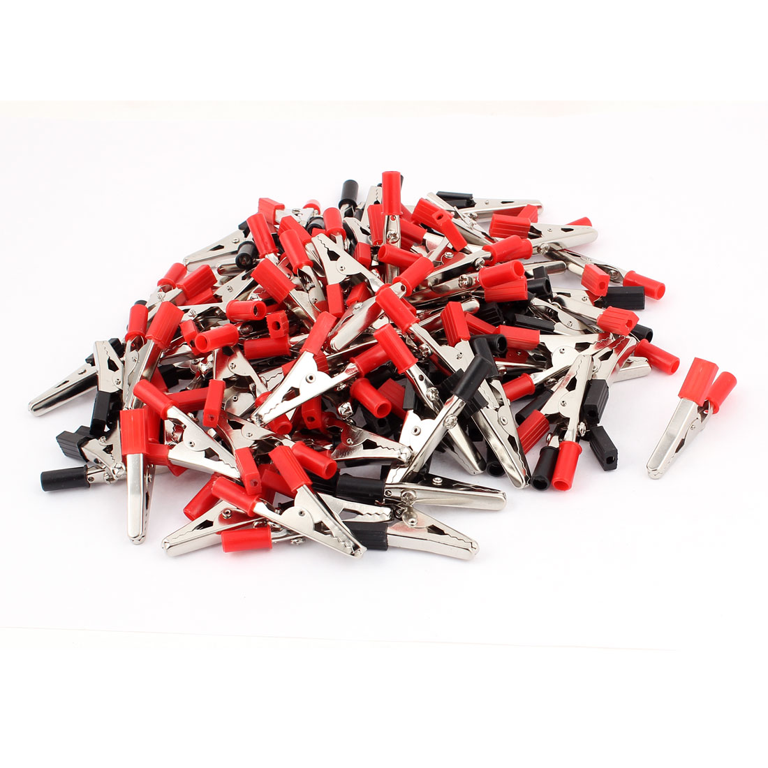 029 100 Pcs 55mm Lenght Alligator Clip Clamp Test Testing Probe Black & Red