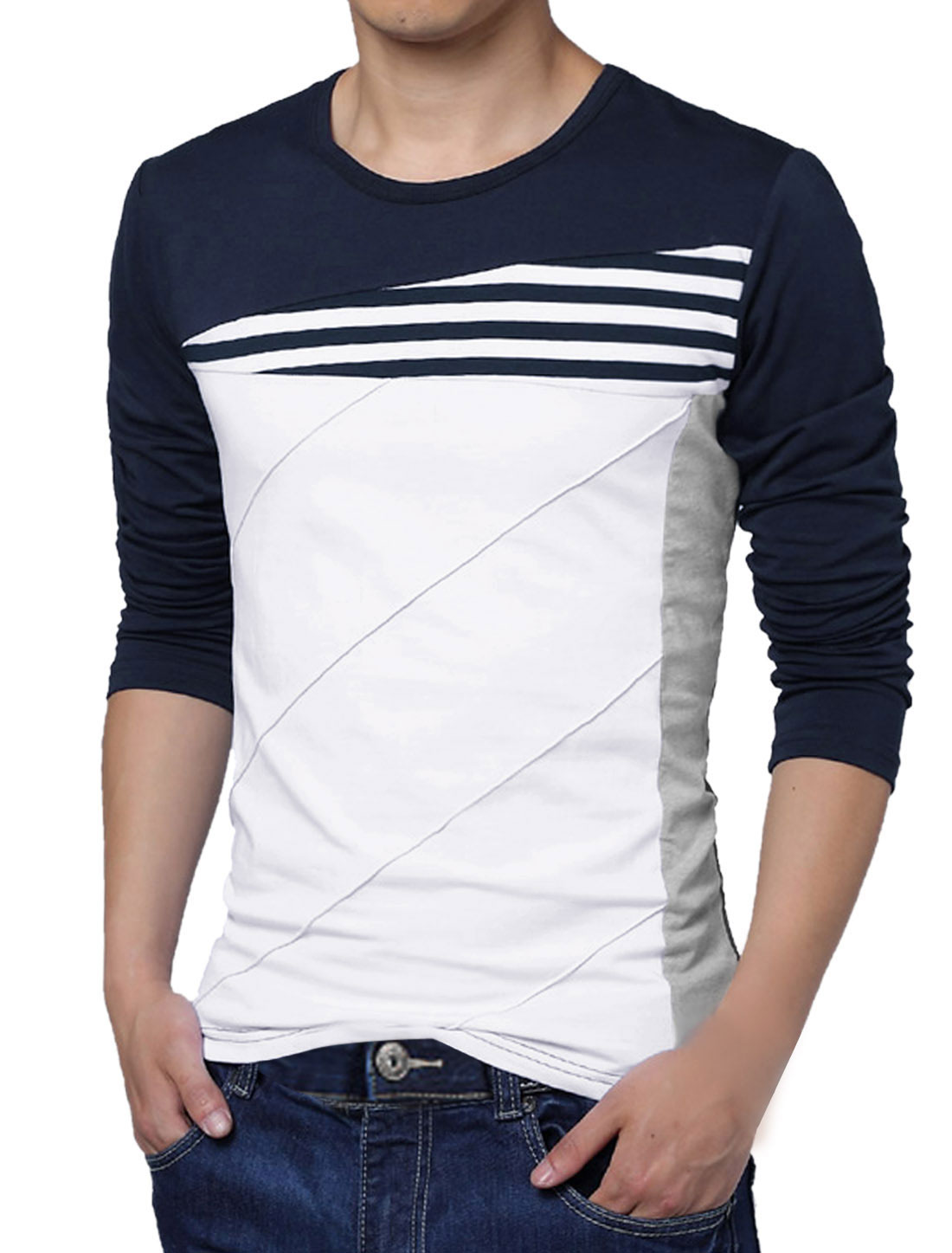 Men Striped Panel Color Block Round Neck Long Sleeve Pullover T-shirt Blue L