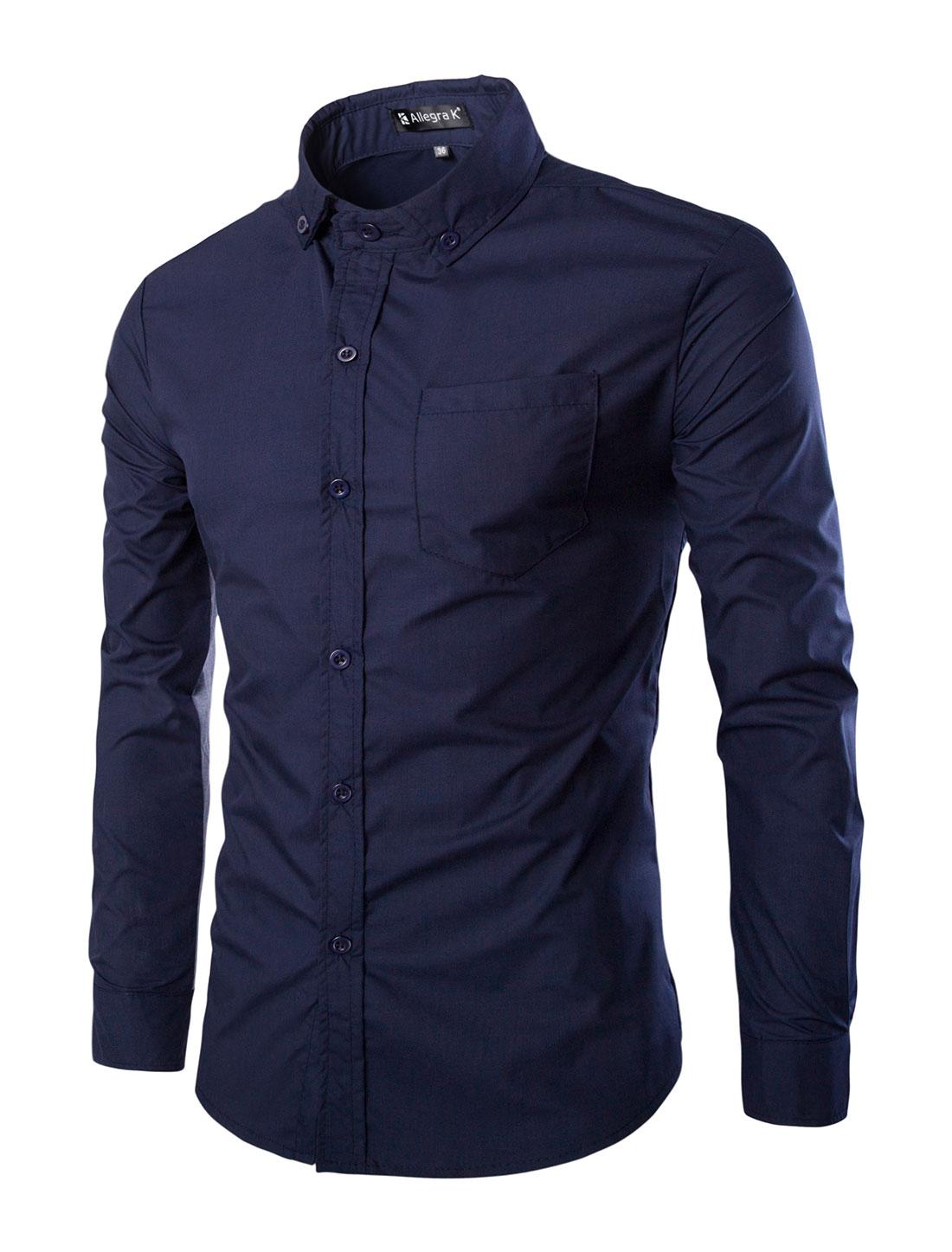 Men Contrast Color Long Sleeves Button Down Shirt w Pocket Blue L
