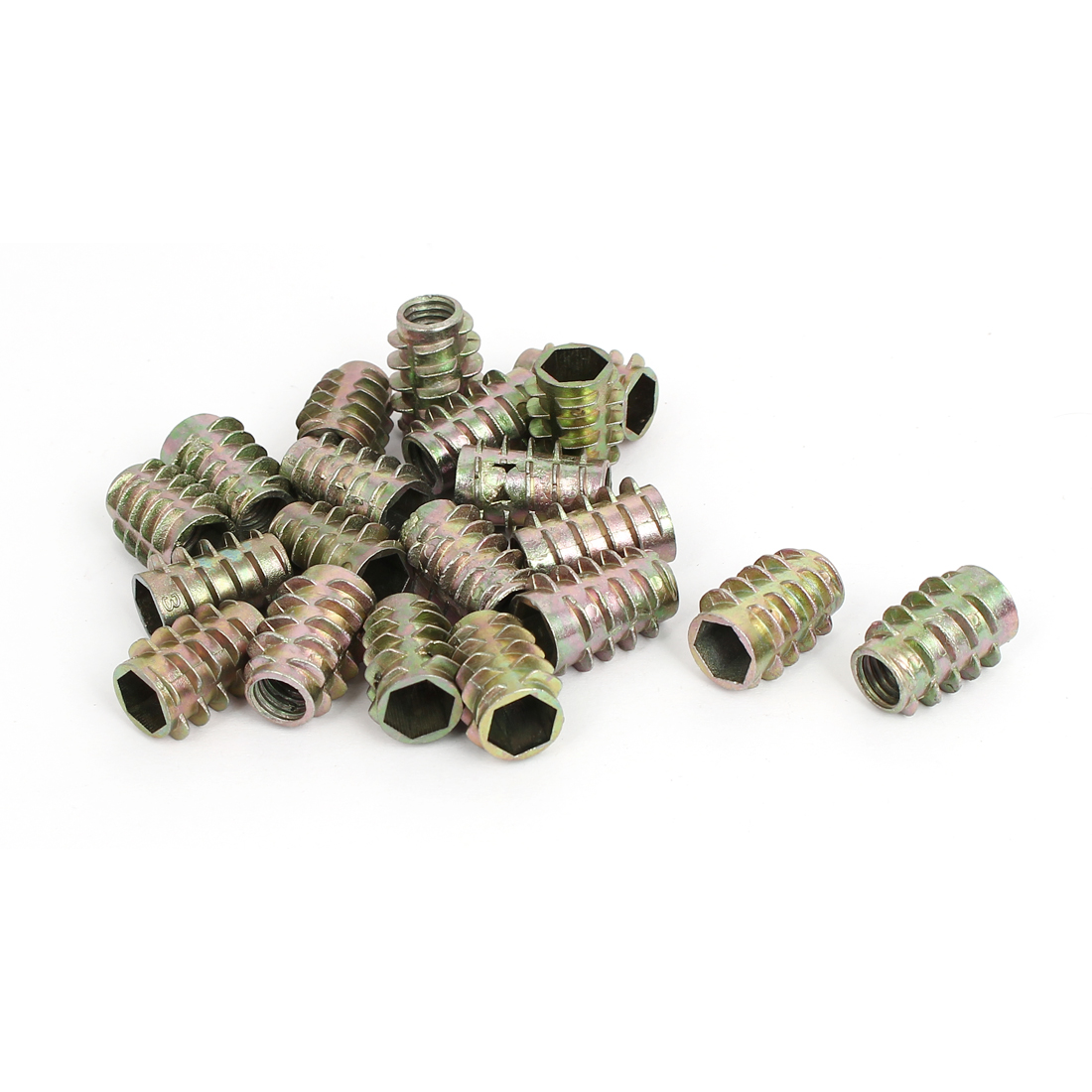M8x20mm Zinc Plated Hex Socket Screw in Thread Insert Nut 20pcs for Wood