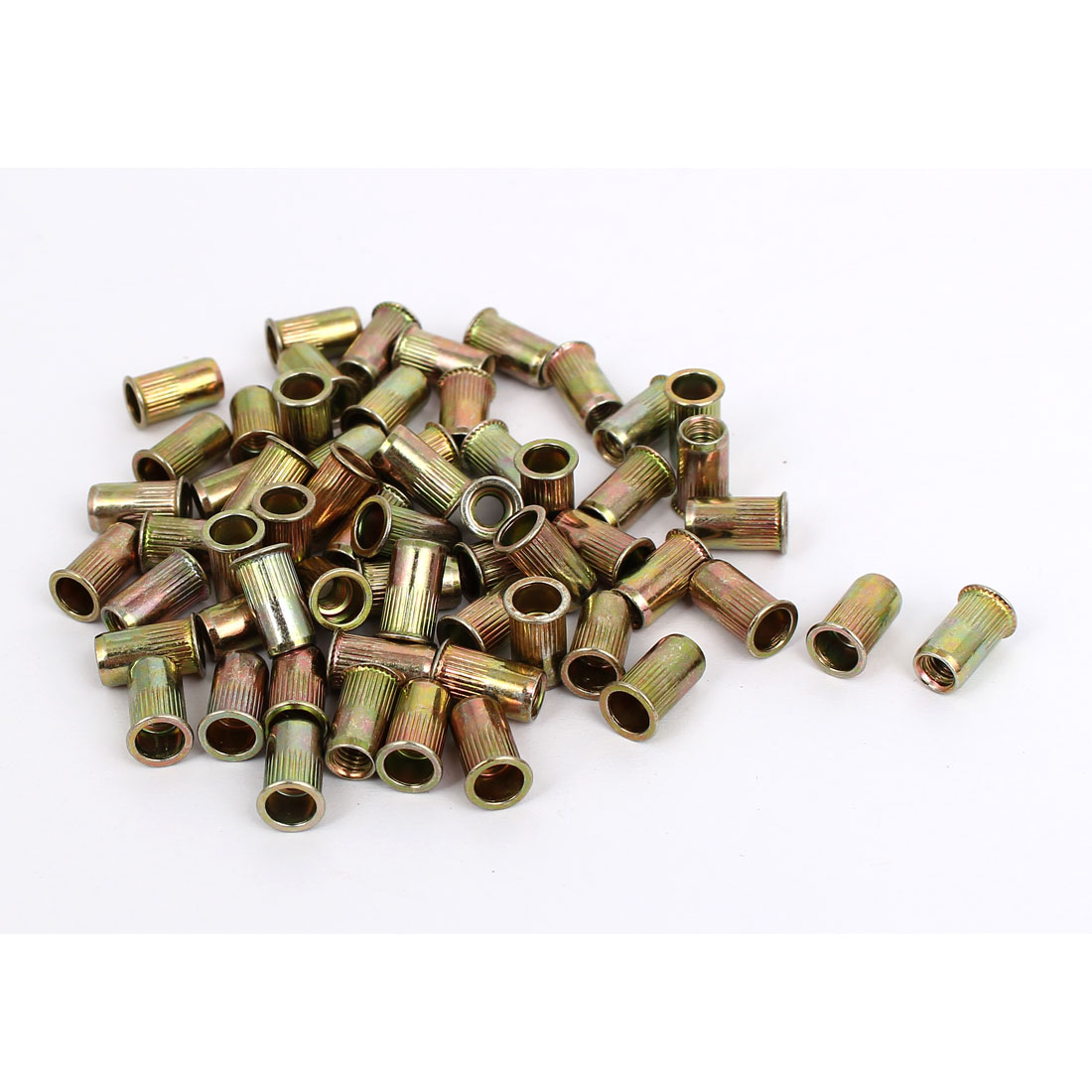 M4 Thread Dia Zinc Plated Rivet Nut Insert Nutsert Brass Tone 60pcs