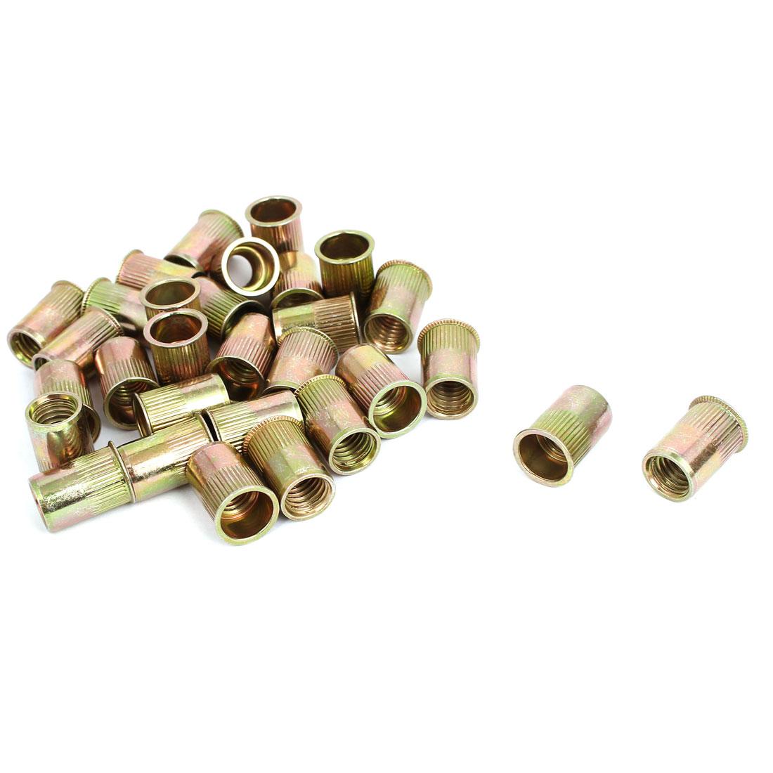 M10 Thread Dia Zinc Plated Rivet Nut Insert Nutsert Brass Tone 30pcs