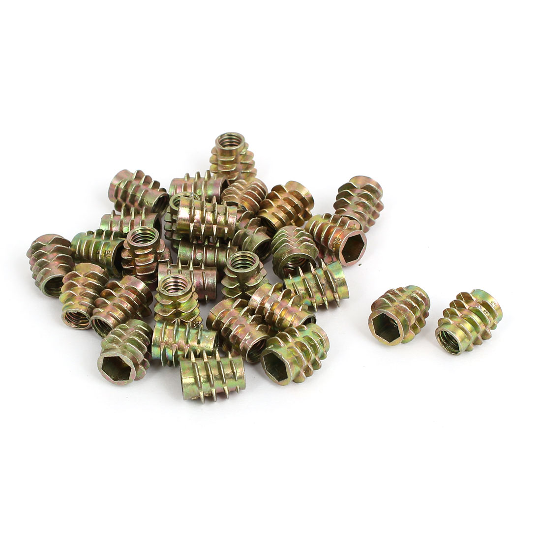 M6x13mm Zinc Plated Hex Socket Screw in Thread Insert Nut 30pcs for Wood