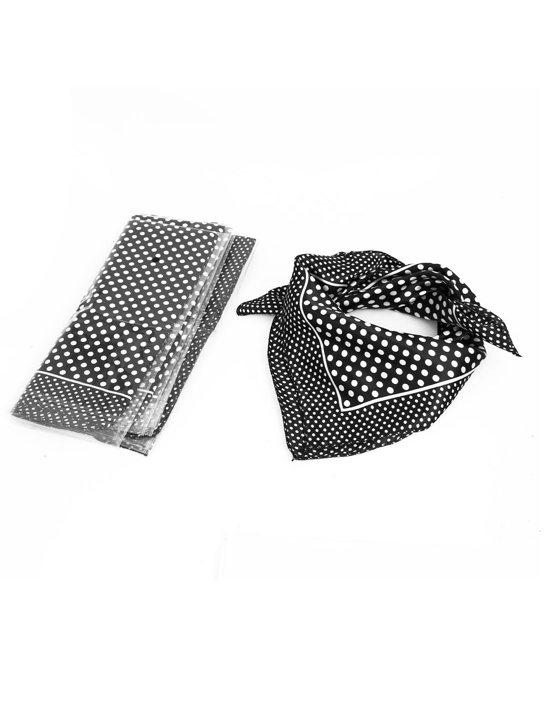 Women Polyester Fashion Round Dot Square Scarf Wrap Black White 5pcs