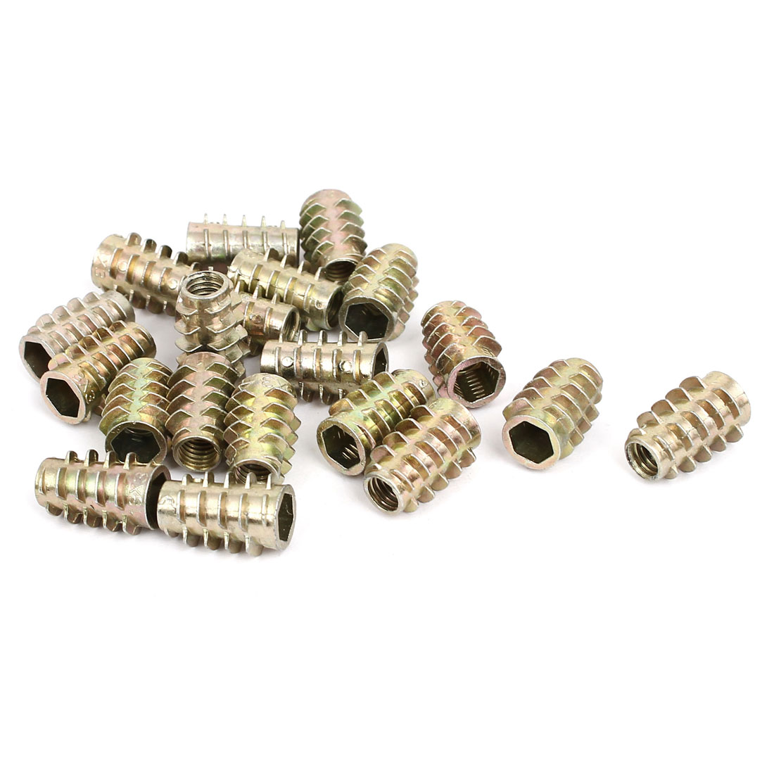 M6x18mm Zinc Plated Hex Socket Screw in Thread Insert Nut 20pcs for Wood