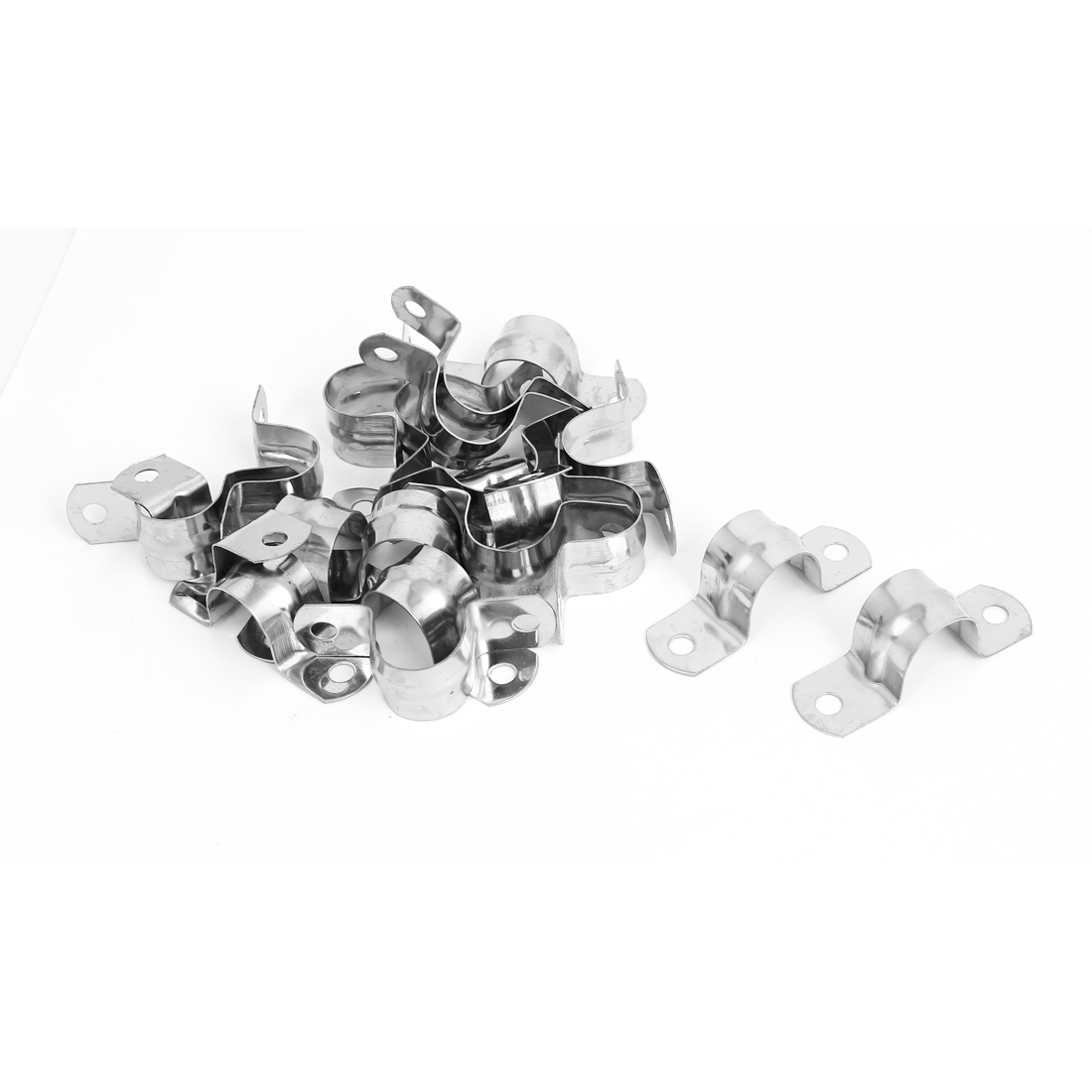 M20 Dia Two Hole Stainless Steel Pipe Strap Clips Fastener Holder 20pcs
