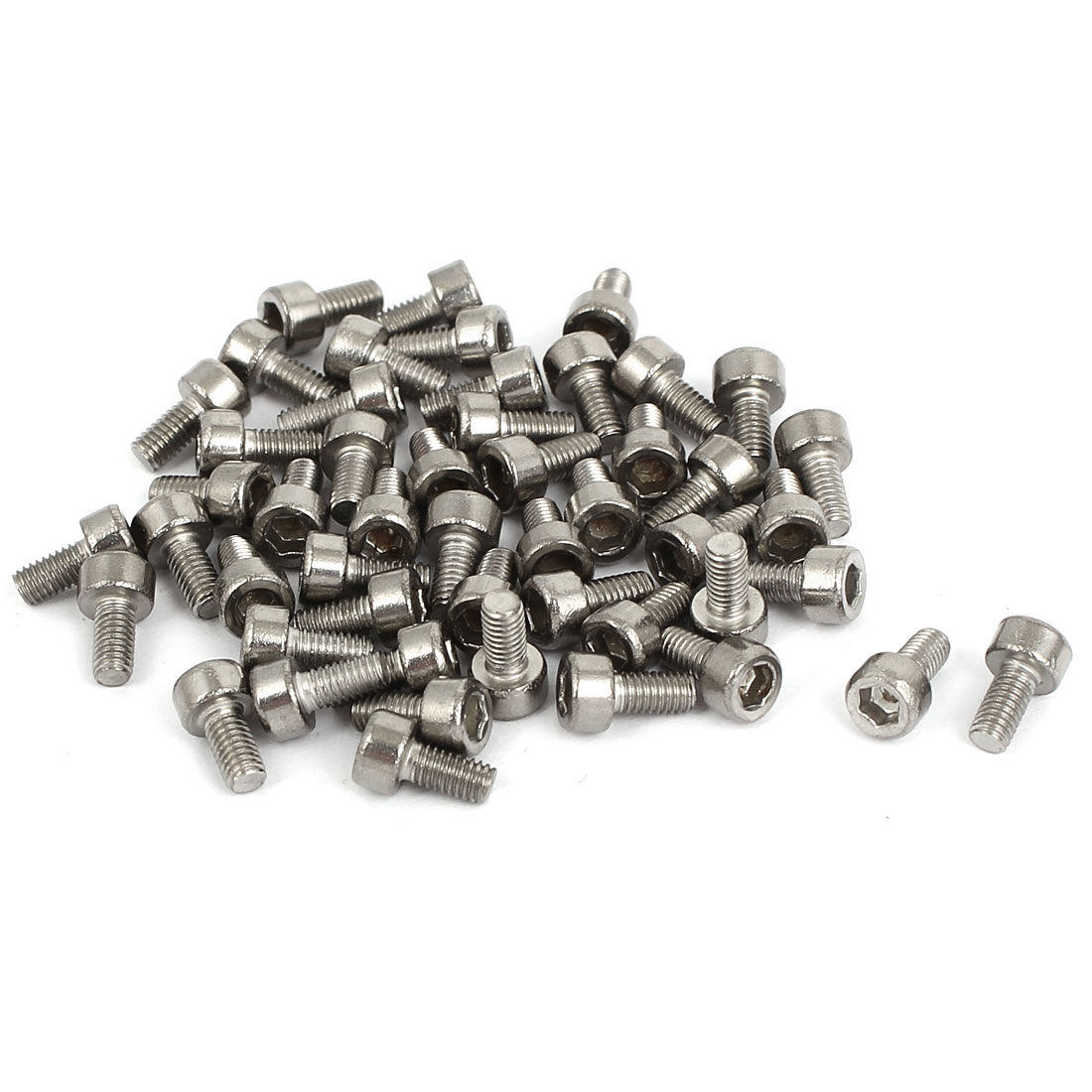 50pcs 2.5mm Stainless Steel Hex Key Socket Head Cap Screws Bolts M3x0.5mmx6mm