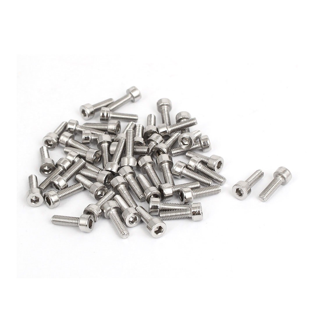 50pcs 2.5mm Stainless Steel Hex Key Socket Head Cap Screws Bolts M3x0.5mmx10mm