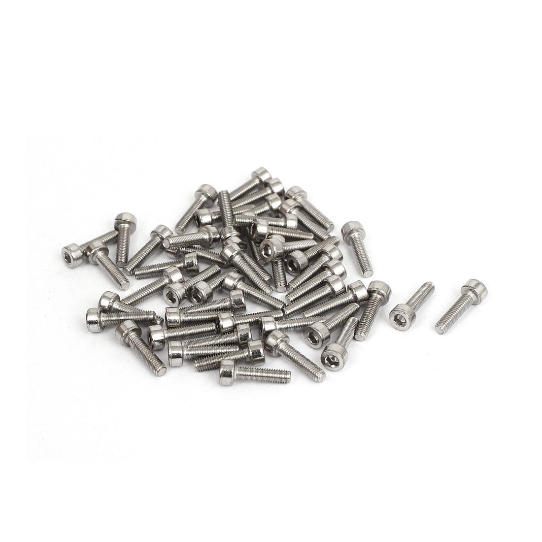50pcs 2.5mm Stainless Steel Hex Key Socket Head Cap Screws Bolts M3x0.5mmx12mm