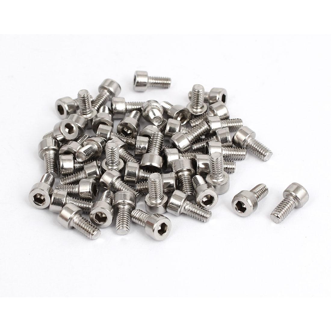 50pcs 3mm Stainless Steel Hex Key Socket Head Cap Screws Bolts M4x0.7mmx8mm