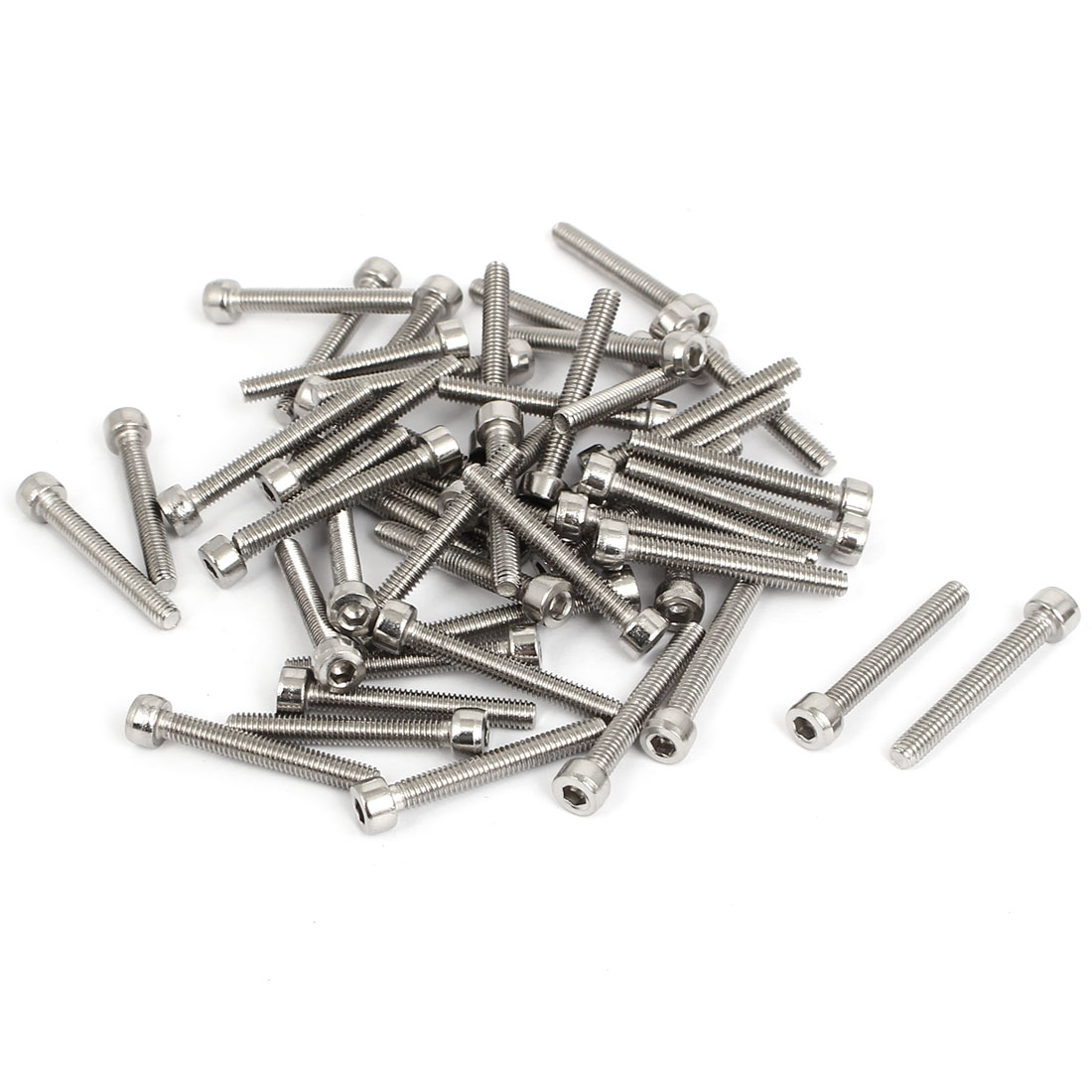50pcs 3mm Stainless Steel Hex Key Socket Head Cap Screws Bolts M4x0.7mmx30mm