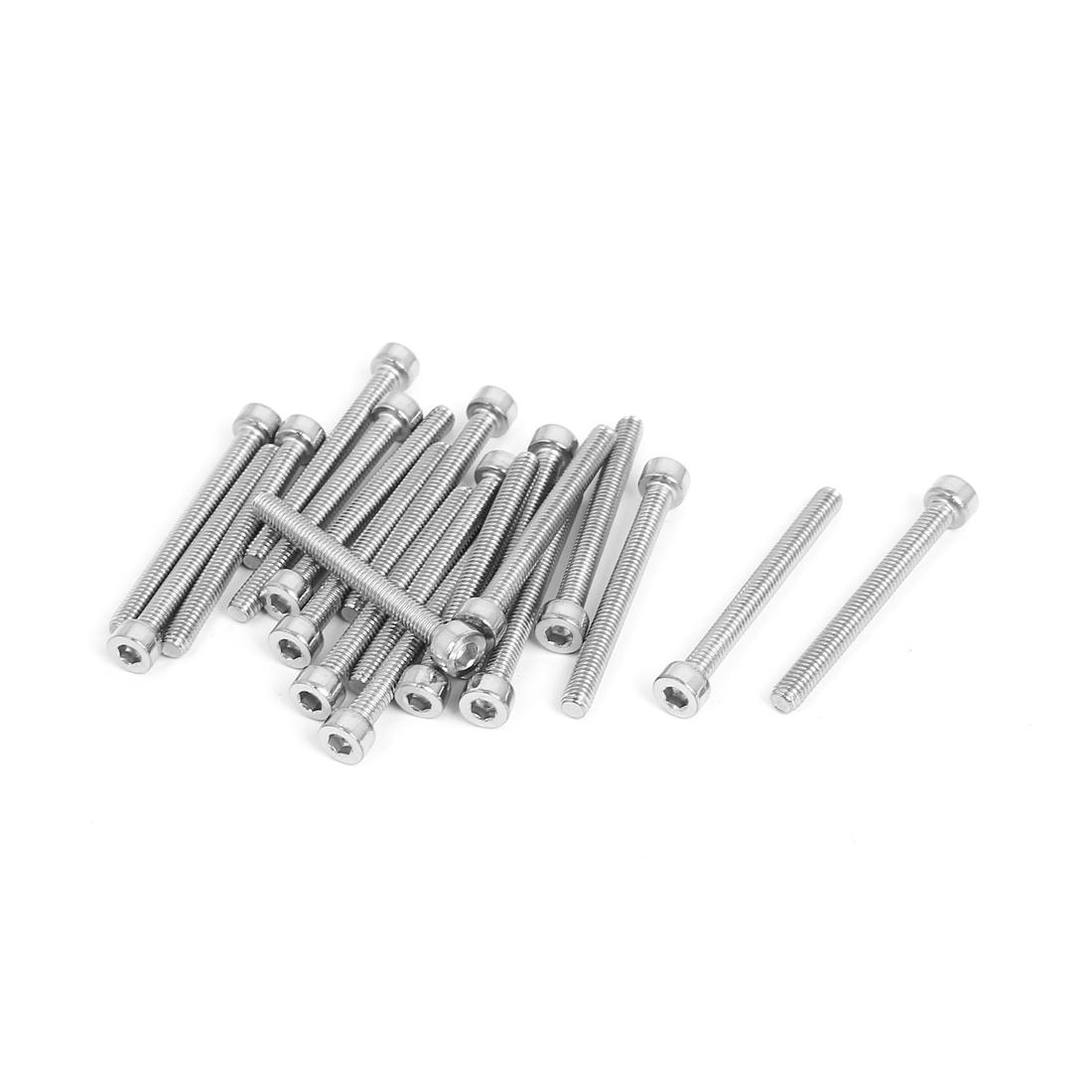 20pcs 3mm Stainless Steel Hex Key Socket Head Cap Screws Bolts M4x0.7mmx40mm
