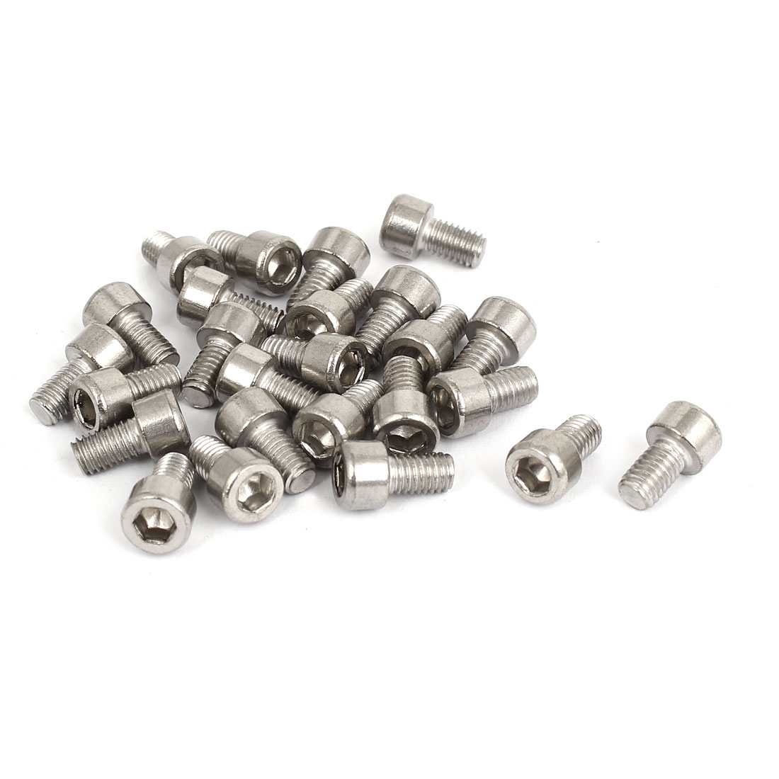 25pcs 4mm Stainless Steel Hex Key Socket Head Cap Screws Bolts M5x0.8mmx8mm