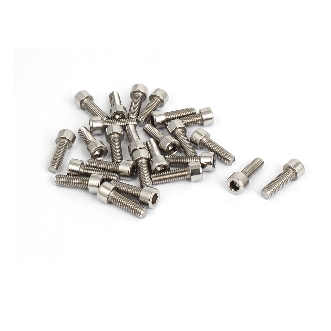 25pcs 4mm Stainless Steel Hex Key Socket Head Cap Screws Bolts M5x0.8mmx16mm