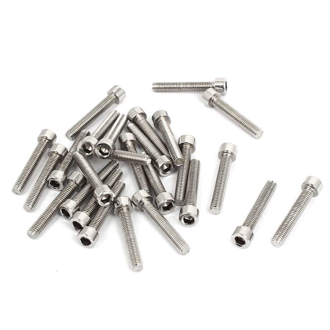 25pcs 4mm Stainless Steel Hex Key Socket Head Cap Screws Bolts M5x0.8mmx30mm