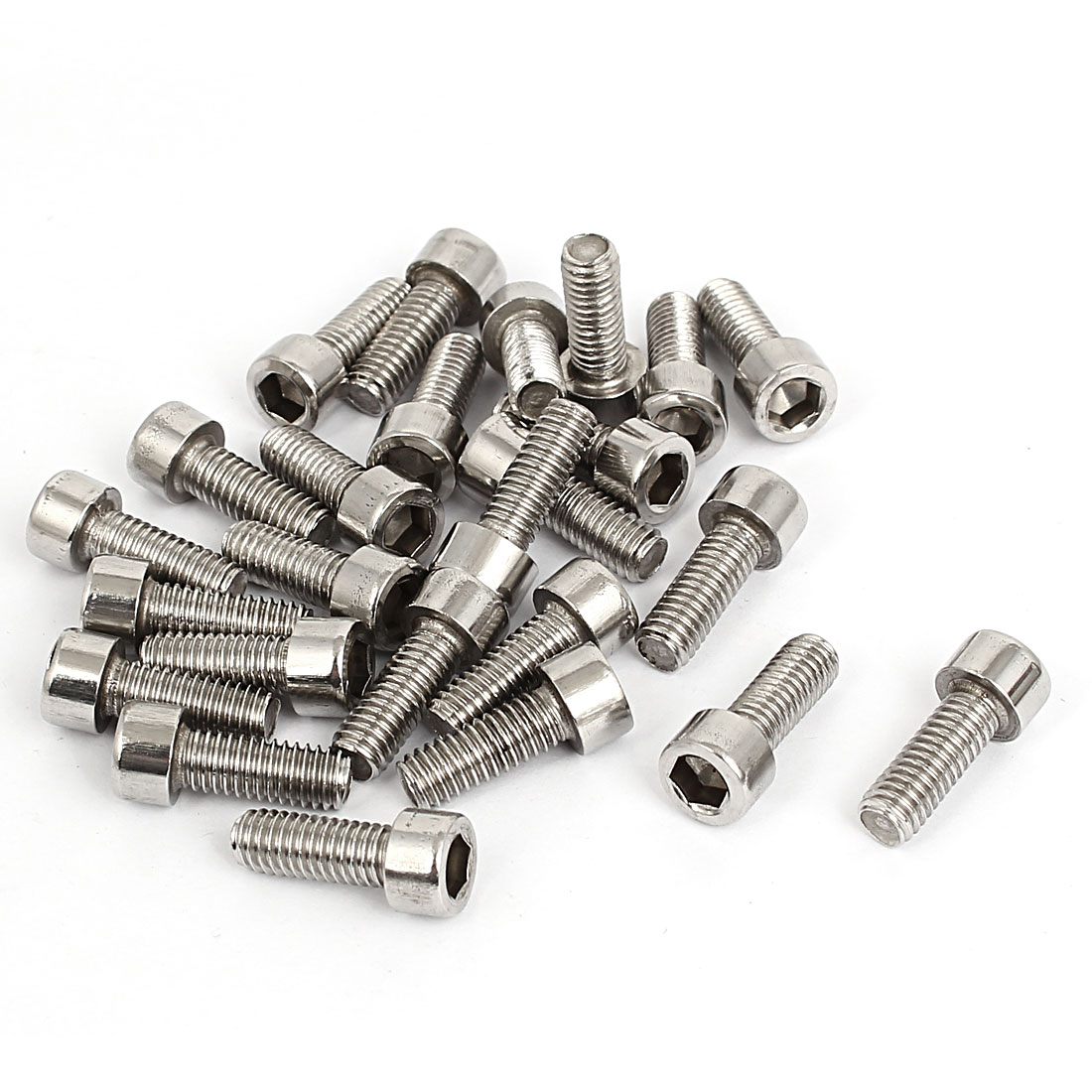 25pcs 5mm Stainless Steel Hex Key Socket Head Cap Screws Bolts M6x1mmx16mm