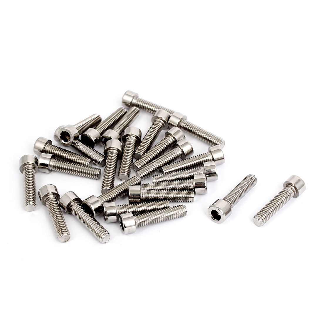 25pcs 5mm Stainless Steel Hex Key Socket Head Cap Screws Bolts M6x1mmx25mm