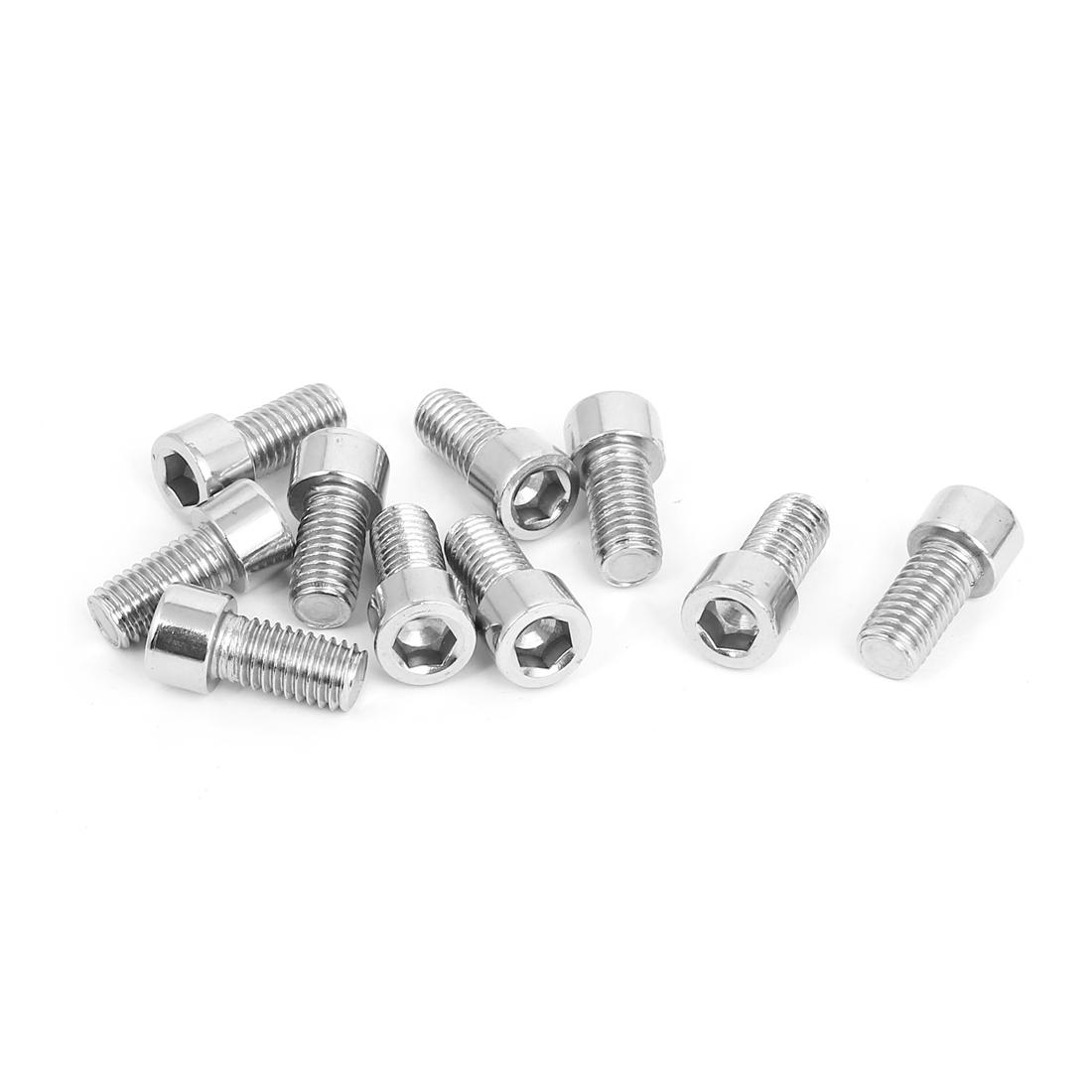 10pcs 6mm Stainless Steel Hex Key Socket Head Cap Screws Bolts M8x1.25mmx16mm