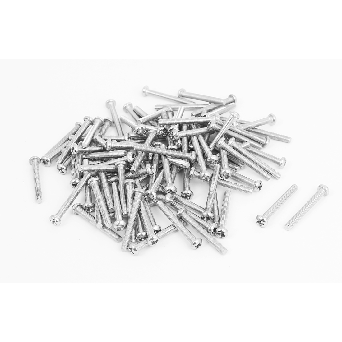 M3x25mm Stainless Steel Phillips Round Pan Head Machine Screws 100pcs