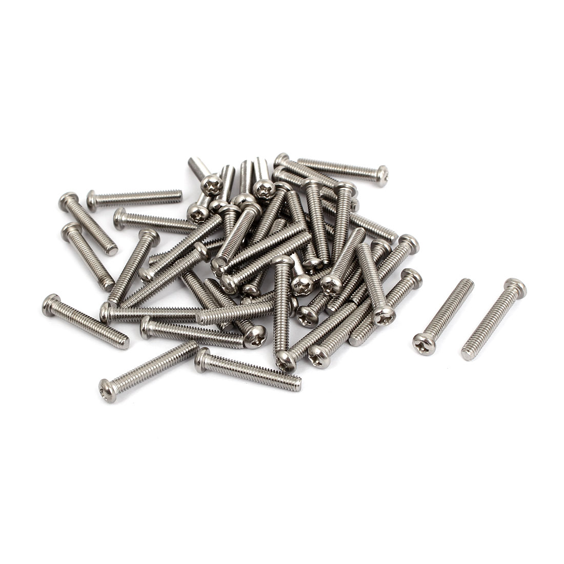 M4x25mm Stainless Steel Phillips Round Pan Head Machine Screws 50pcs
