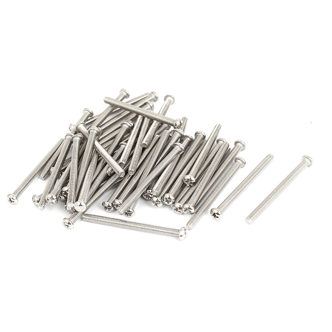 M4x50mm Stainless Steel Phillips Round Pan Head Machine Screws 50pcs
