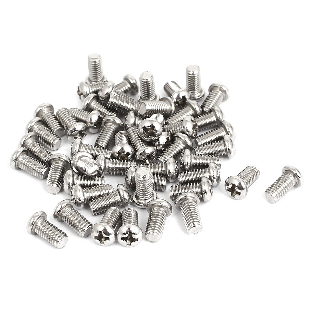 M5x10mm Stainless Steel Phillips Round Pan Head Machine Screws 50pcs