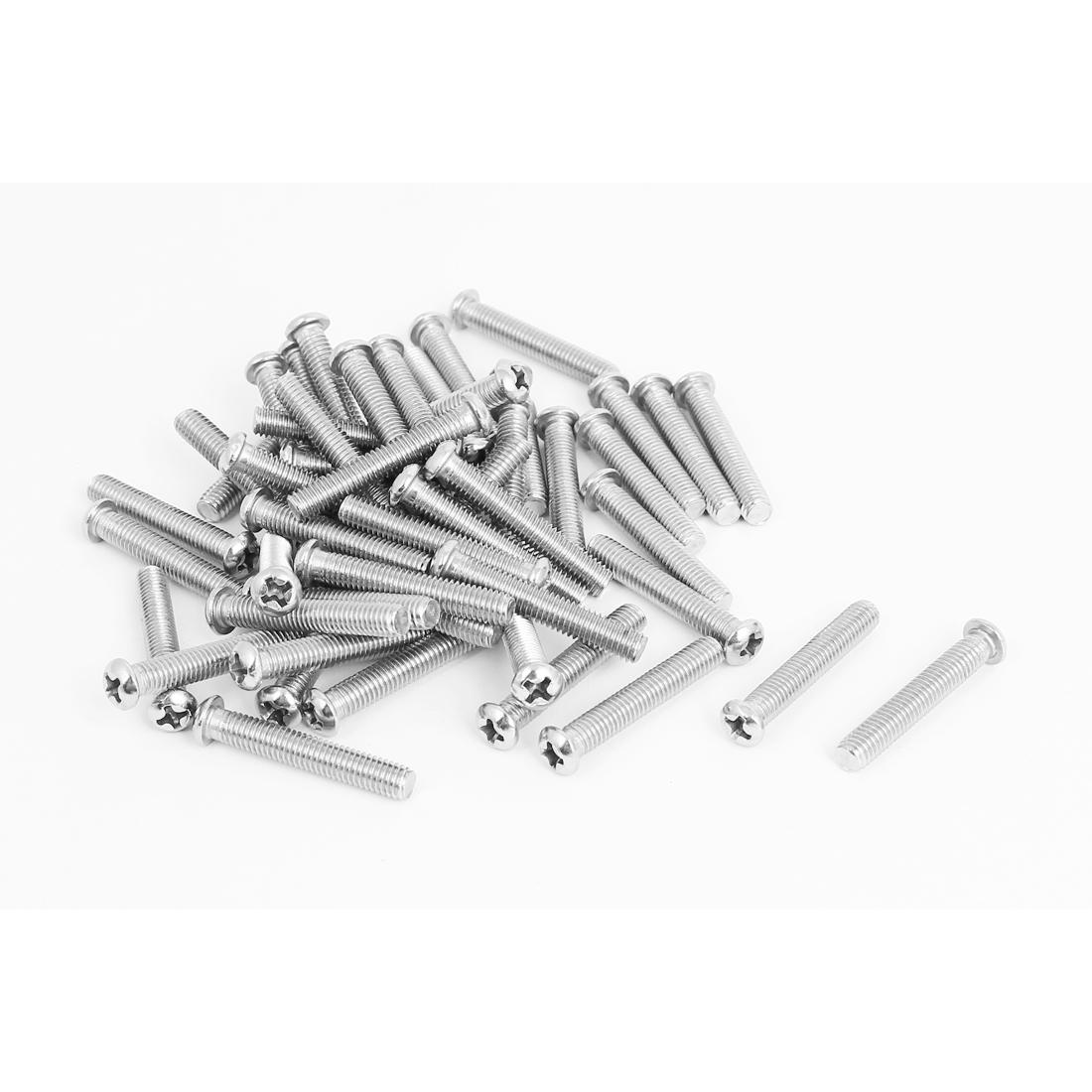 M5x30mm Stainless Steel Phillips Round Pan Head Machine Screws 50pcs