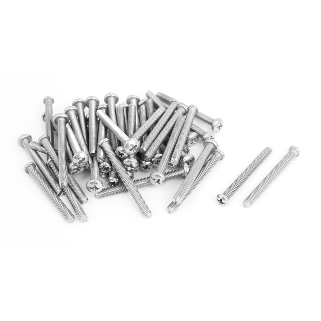 M5x50mm Stainless Steel Phillips Round Pan Head Machine Screws 50pcs