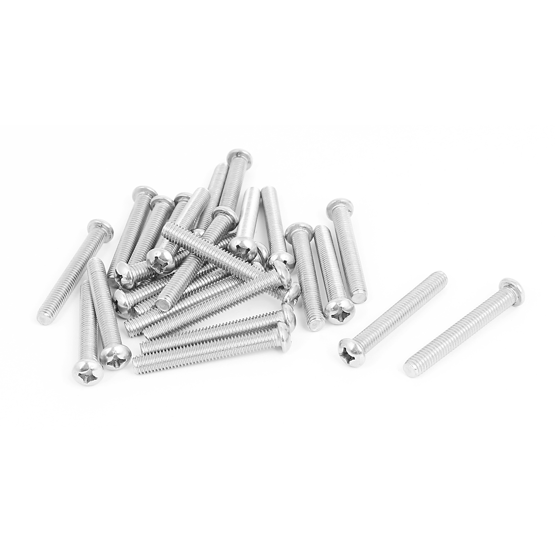 M6x45mm Stainless Steel Phillips Round Pan Head Machine Screws 25pcs