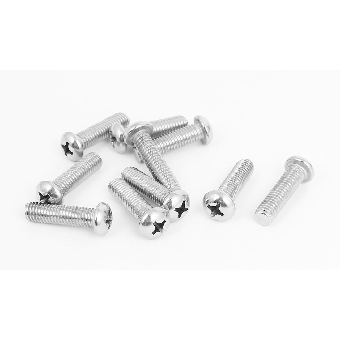 M8x30mm Stainless Steel Phillips Round Pan Head Machine Screws 10pcs