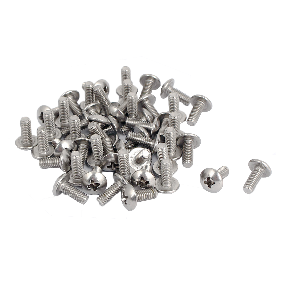 M4x10mm Stainless Steel Truss Phillips Head Machine Screws 50pcs