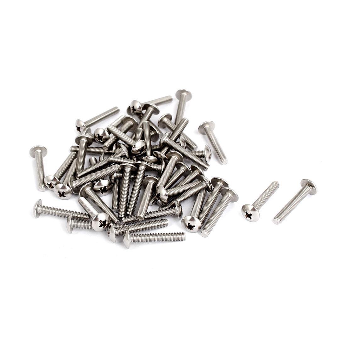 M4x25mm Stainless Steel Truss Phillips Head Machine Screws 50pcs