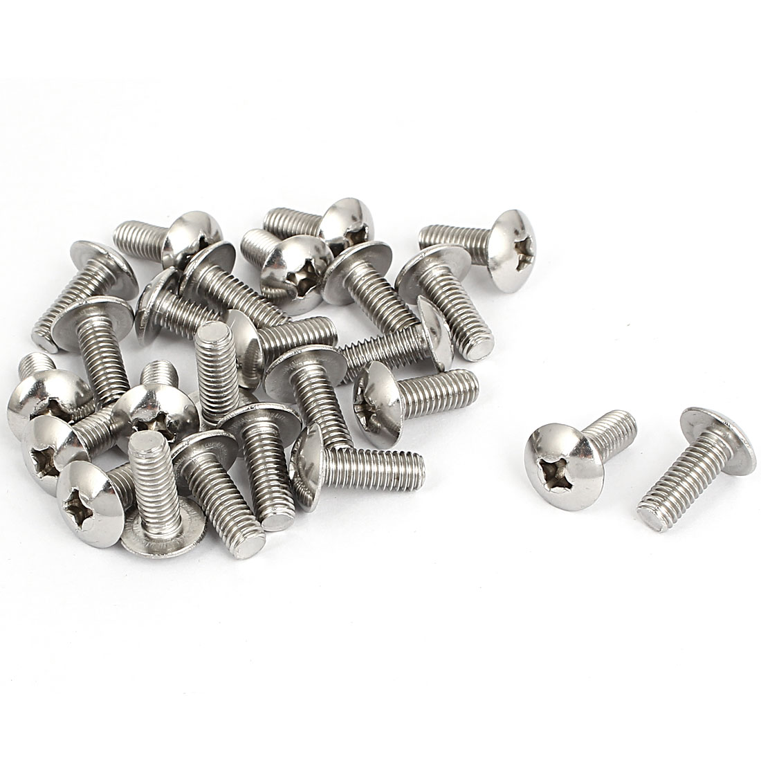 M6x16mm Stainless Steel Truss Phillips Head Machine Screws 25pcs