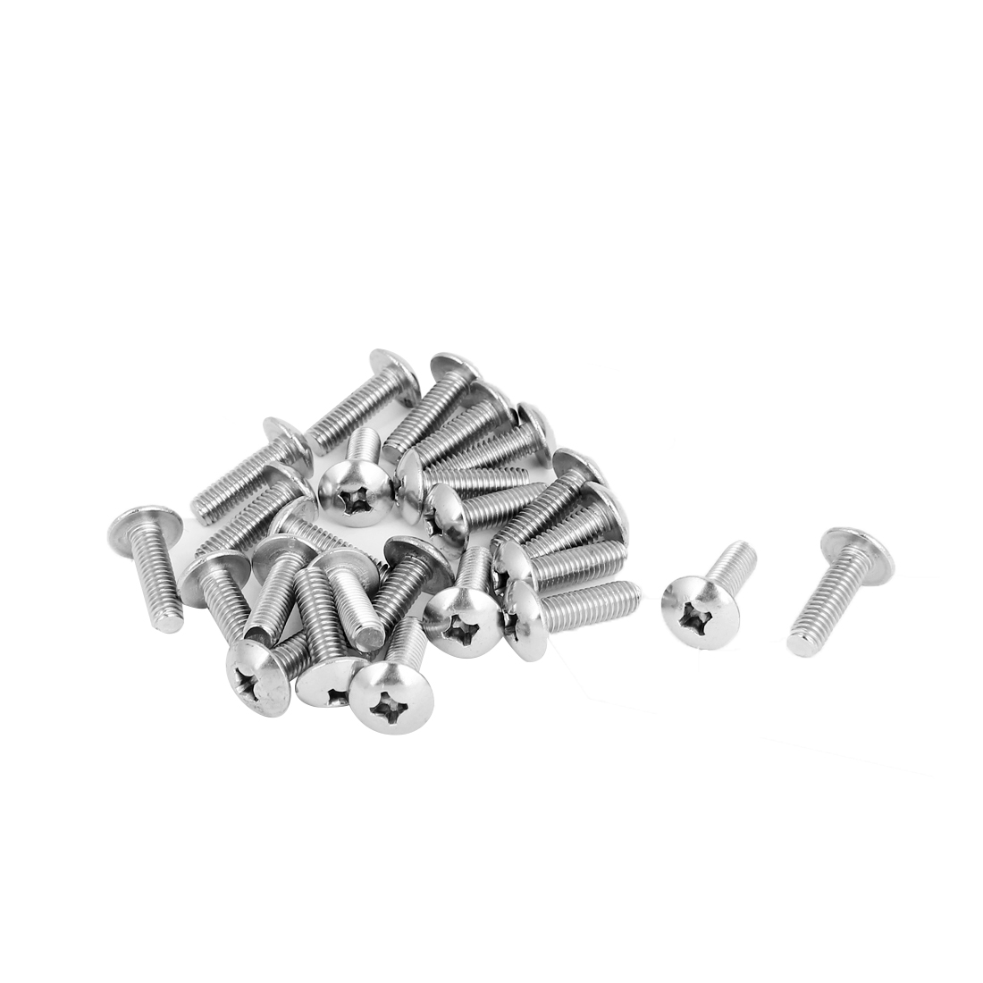 M6x20mm Stainless Steel Truss Phillips Head Machine Screws 25pcs
