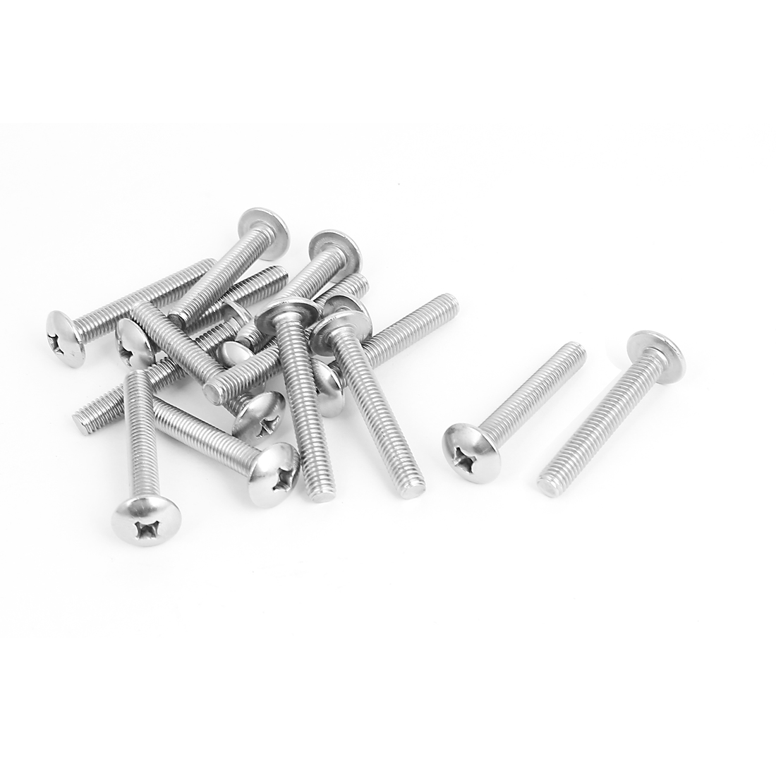 M6x40mm Stainless Steel Truss Phillips Head Machine Screws 15pcs