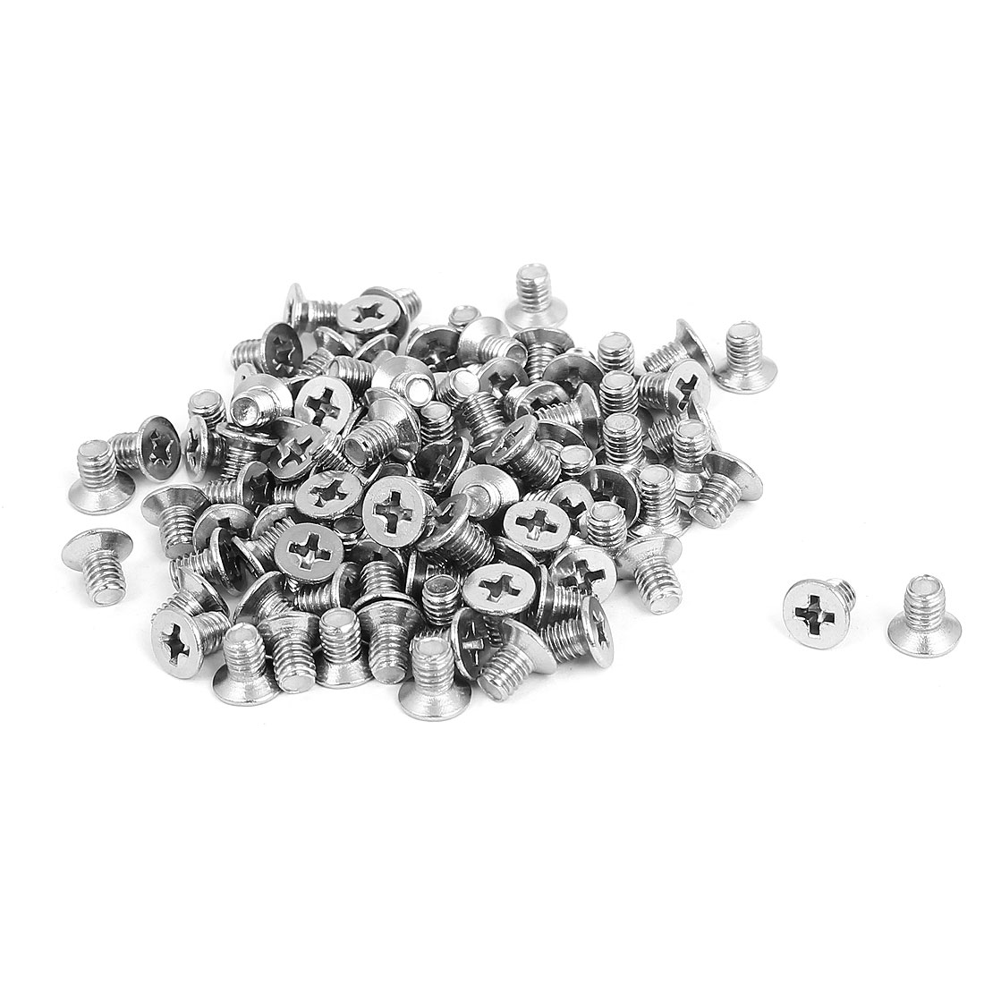 M4x6mm Stainless Steel Countersunk Flat Head Cross Phillips Screw Bolts 100pcs