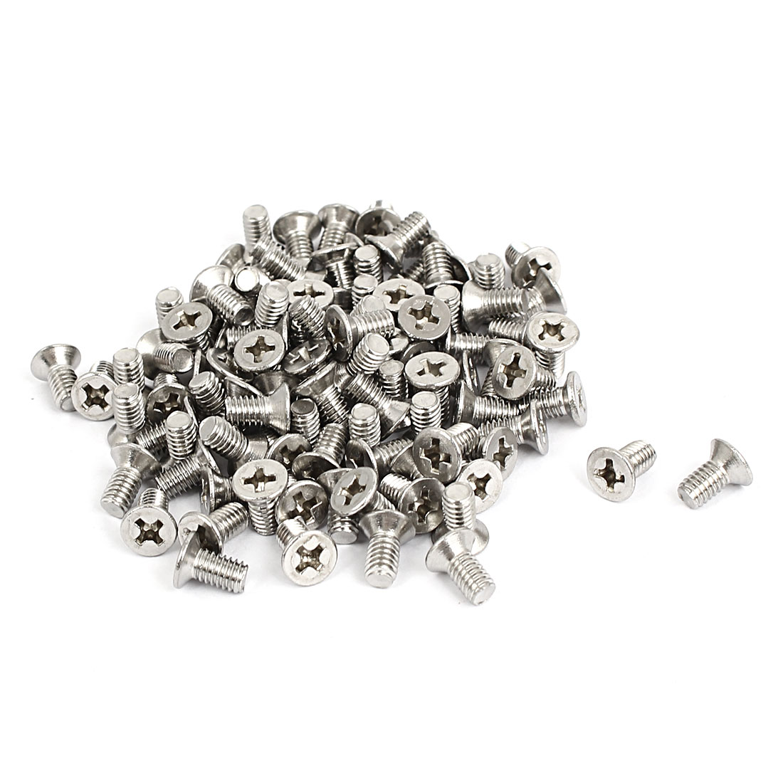 M4x8mm Stainless Steel Countersunk Flat Head Cross Phillips Screw Bolts 100pcs